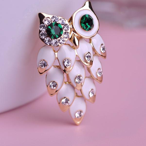 Atacado- Moda Pássaro Corujas Broche Esmalte Broches Bouquet Animal Hijab Pin Up Designer Wedded Mulheres Broche Lenço Clips Corpete Jewelery