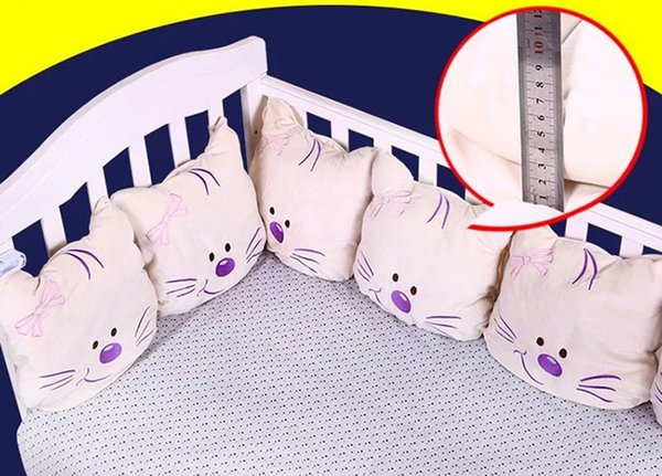 Cute Cat Baby Bed Bumper Soft Infant Baby Bed Around Protection Bumper Backrest Cushion Crib Bumper For Boys Girls