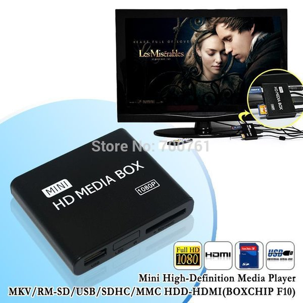 Wholesale-10pcs New mini Media Player 1080P Full HD multimedia player with IR remote support MKV/RM-SD/USB/SDHC/MMC HDD-HDMI(BOXCHIP F10)