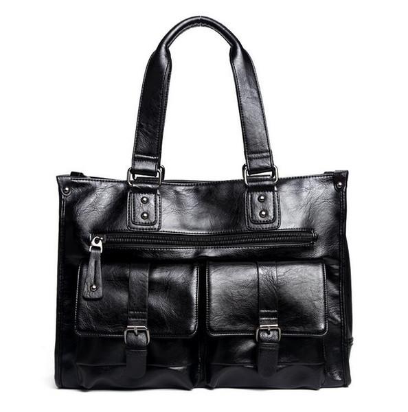 Фабрика Оптовая Марка сумка досуг двойной карман корейский стиль сумка многофункциональный кожаная сумка большой емкости кожа бизнес сумка