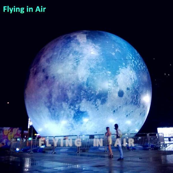 Satellite gonflable de l'éclairage par satellite géant du ballon LED de lune géante gonflable de 3m / de 6m avec la lumière de LED