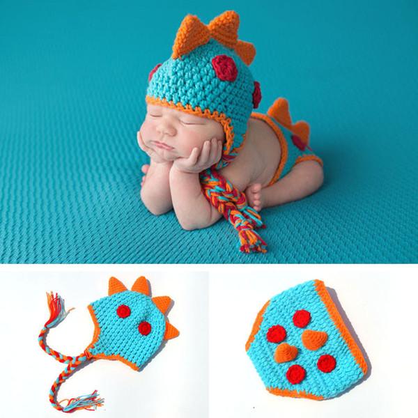 Accesorios de fotografía para bebés 2019 Crochet Newborn Boys Dinosaur Outfits Baby Boy Clothes Knitted Dinosaur Hat Set Infant Photo Props BP001