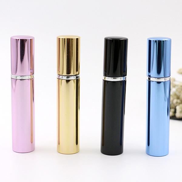 Botella de perfume 7ml tubo de aluminio botellas brillantes atomizador Spray Travel glass botella recargable 4 colores negro rosa azul rosa Inicio Fragancias
