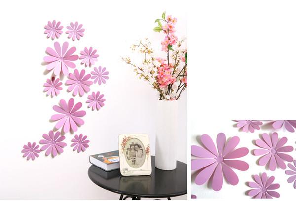 new Wholesale 12pcs/bag fashion sticker Carved flowers Glue stick fridge sticker Home background corridor three-dimensional 3D Sticker Decor