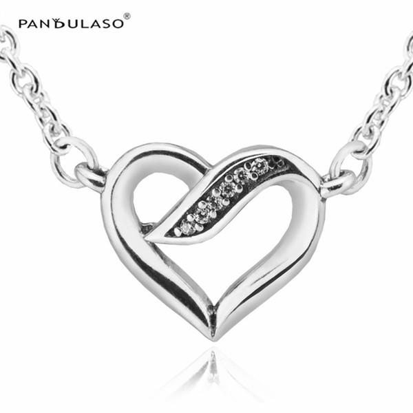 Ribbons of Love Clear CZ necklace & pendants for woman Jewelry Finding Sterling silver jewelry DIY Choker chain fashion jewelry