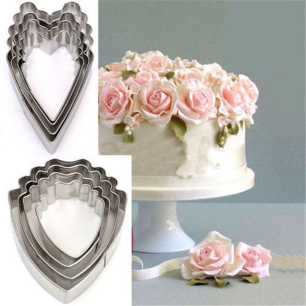 Hot Sale 4x Stainless Steel Heart Peony Flower Cookie Fondant Cake Paste Mold Cutter Tool Free Shipping