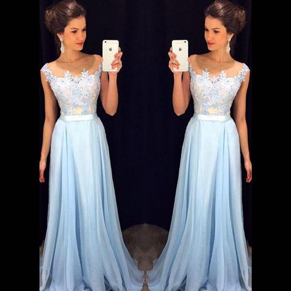 Großhandel Günstige Light Sky Blue Brautjungfer Kleider Lace Sheer ...