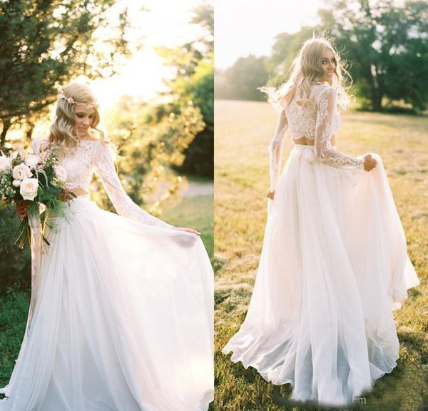 2017 2 Pieces Chiffon Lace Wedding Dresses Beach/Country Bridal Gowns With Long Sleeves Floor Length High Collar Cheap
