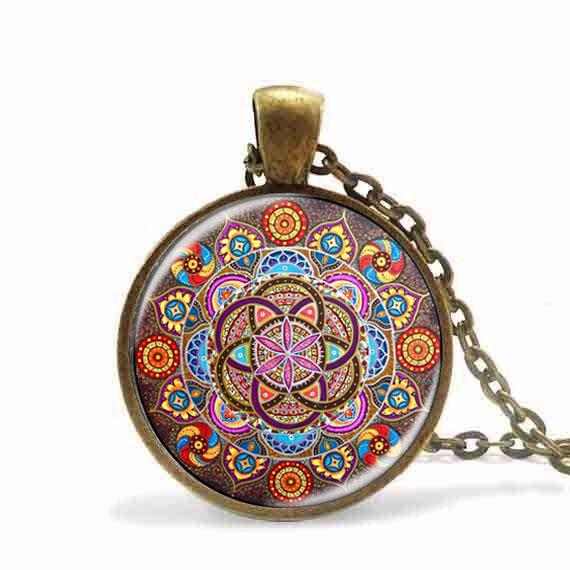 Wholesale- New Steampunk necklace mandala necklaces chakra pendant OM jewelry for women glass cabochon pendants Zen gifts jewellery vintage