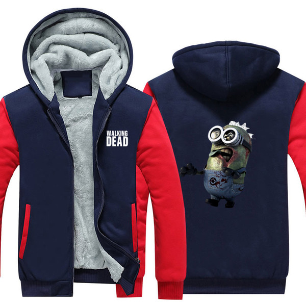 New Winter Warm Hoodie Walking Dead Despicable me Jacket Coat Hot Flim Anime Minions Thick Zipper Sweatshirt