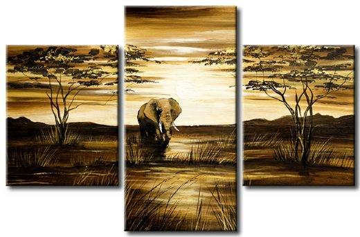 Free Shipping 3 Panel Canvas Abstract Art Pure hand-made ! Large OIL PAINTING Wall Decor - Elephant no framed painting
