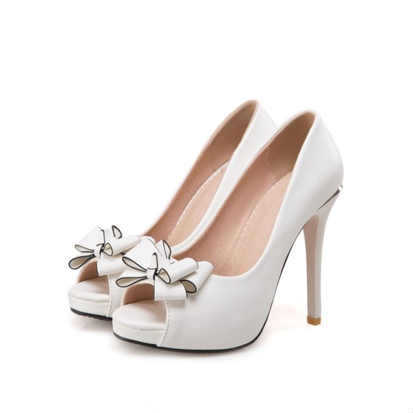 free shipping factory price PU Bowtie new style peep toes sexy high heel women dress shoe 193