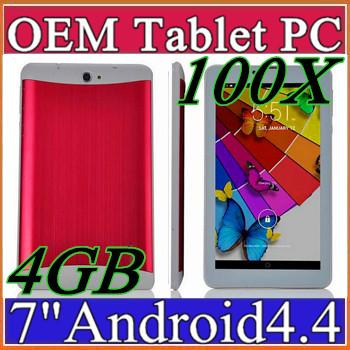 100X 3G Phablet Phone Calling Tablet PC 4GB MTK6572 Dual Core Android 4.4 Capacitive Touch WCDMA GSM Bluetooth Camera Dual Sim Card B-7PB