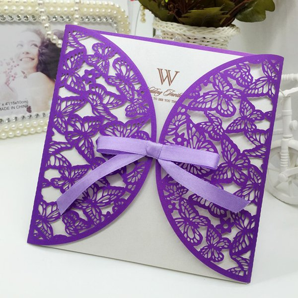 50pcs/lot free shipping laser cut wedding invitations cards Butterfly design test customized wedding party cards supplies