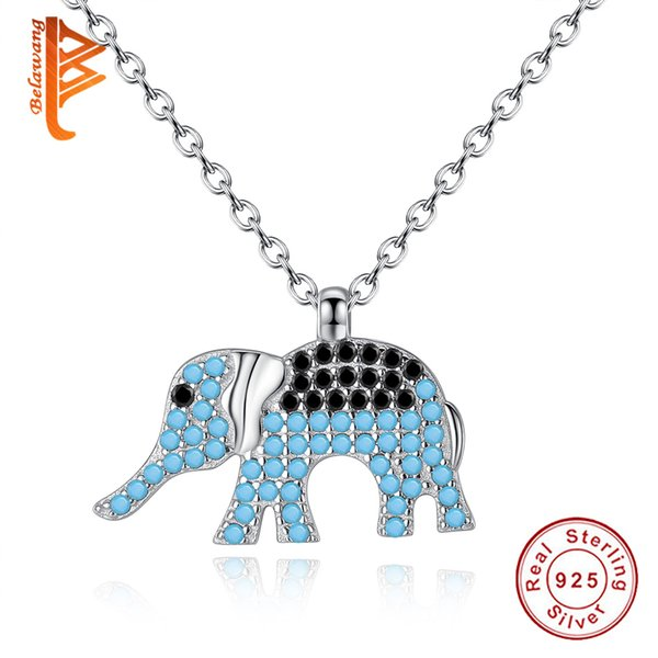 BELAWANG 925 Sterling Silver Animal Necklace Elephant Pendant Necklaces Black&White Cubic Zircon Link Chain Women Jewelry Free Shipping 45cm