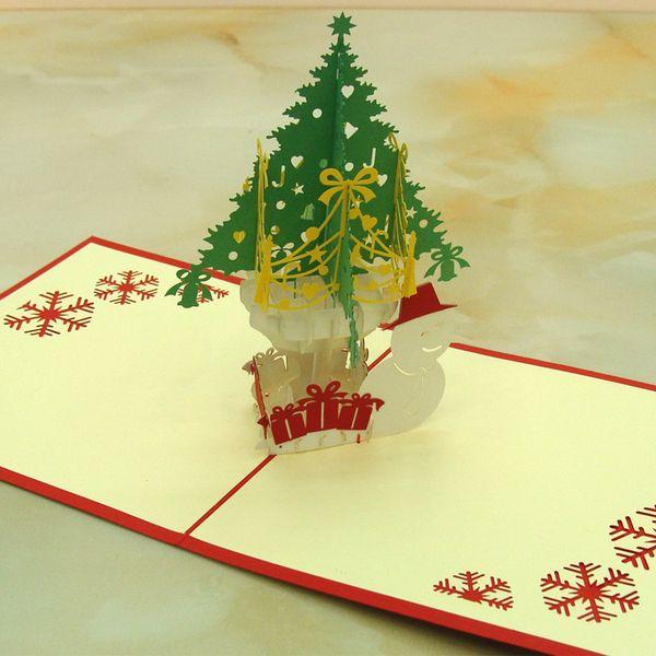 10 adet / grup Lazer Kesim Düğün Davetiyeleri 3D Kübik Noel Ağacı ve Kardan Adam Çocuklar Doğum Günü Kartları Noel Günü Tebrik Kartları