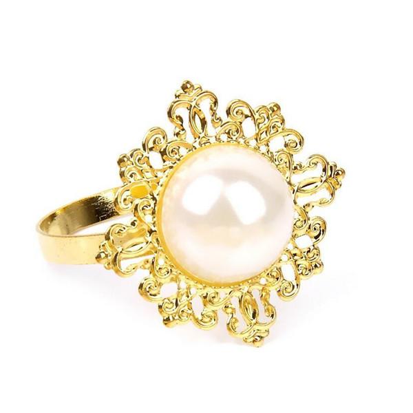 Wholesale- 100pcs Gold Diamond Gem Vintage Napkin Ring Serviette Holder Wedding Party Decor Craft New Round Metal Ring Set of Rhinestone