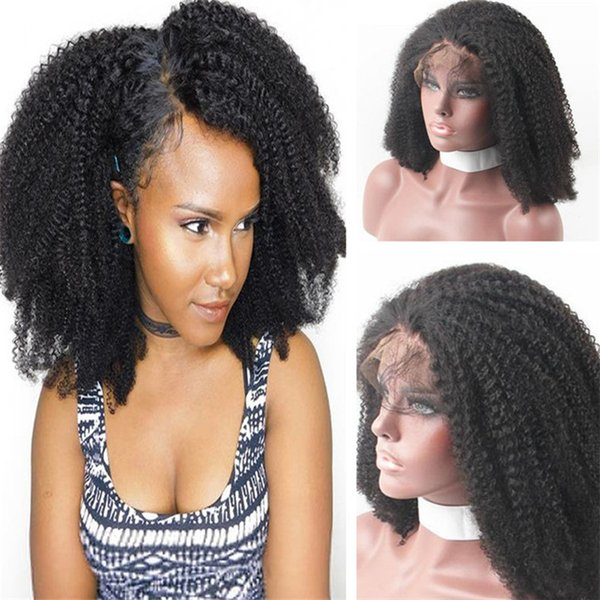 Afro Kinky Curl Wigs Virgin Indian Human Hair Top Hair Quality Front Lace Wig for Black Women Free Shipping