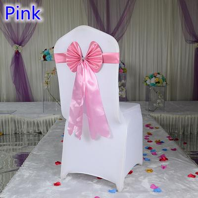 Pink colour chair sash long tail butterfly style wedding chair decoration luxury chair bow tie wholesale lycra spandex sash