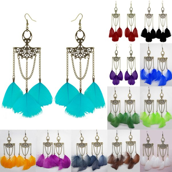 Feather Earrings 12 Colors wholesale lots Cute Elegant Bronze Chain Light Dangle Eardrop (Army Green Orange Deep Pink Blue Burgundy) (JF256)