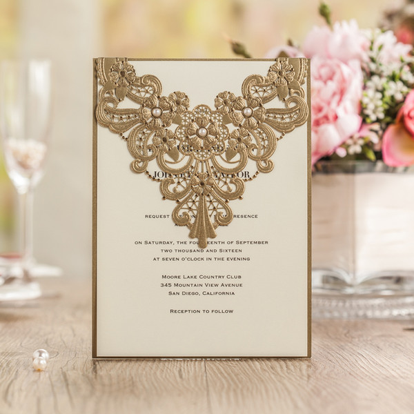 Wholesale Elegant Gold Wedding Invitations Card 2016 New Luxury Laser Cw5239 Businiess Birthday Party Invitation Card Online Greetings Cards Order