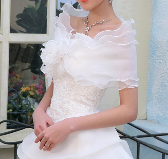 top popular Hot Cheap Fashion Bridal Wraps Organza Wrap Shawl Layer Elegant Evening Wedding Shawl Shrug Wrap Cheap Jacket Coat 2021