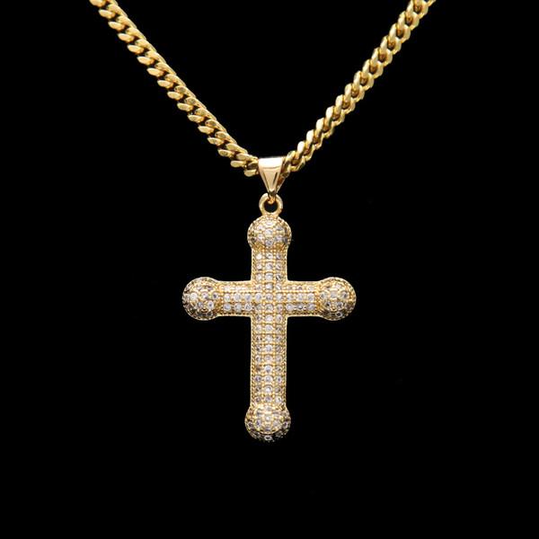 Cruz Crucifixo Jesus Pedaço de Pingente de Colar de Corrente de Ouro Cor Dos Homens de Aço Inoxidável Presentes da Jóia Cristã Do Vintage