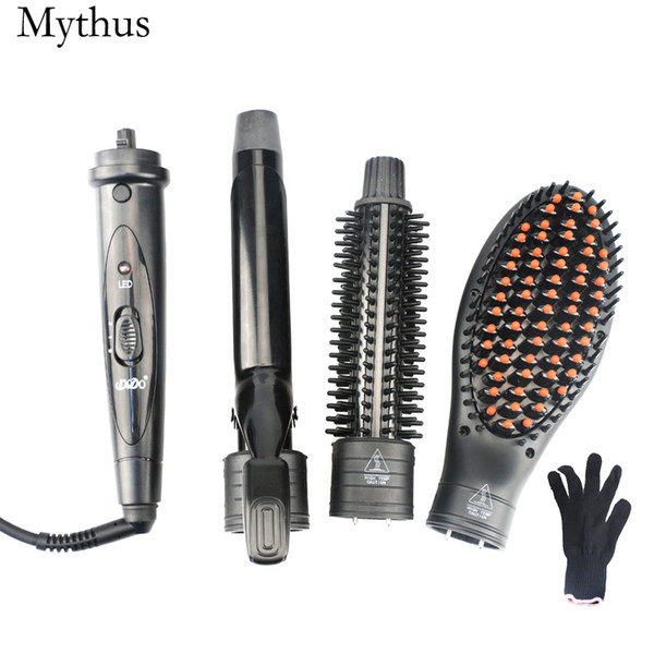 3 In 1 Tourmaline Ceramic Styling Hair Tools,Round Curler Iron And Hair Round Brush And Hair Straigntener Brush Are Interchangeable