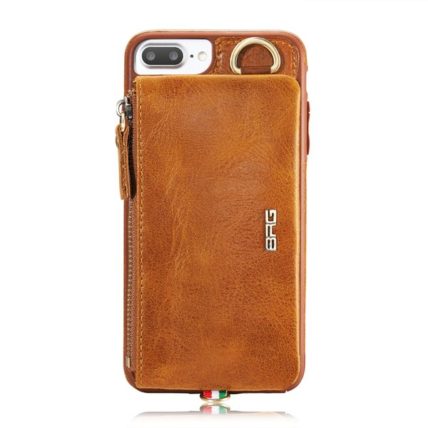 For iPhone 7 mobile phone shell for apple7 plus leather split from the zipper multifunction purse combo phone cases