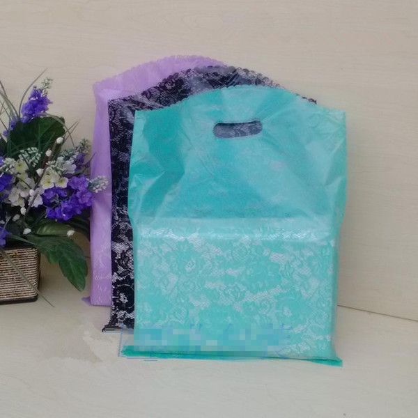 wholesale 25x35CM 100pcs Lace Gift Bags, Transparent plastic Bags green purple Rose Floral shopping packaging kid's T shirt bag Wedding Bags