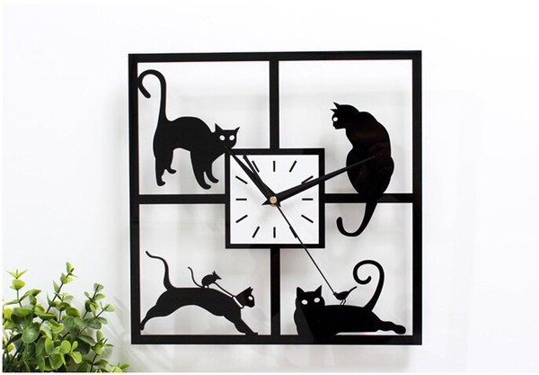 Wholesale-Black cat wall clock modern design cat's design reloj watch for study living room bedroom home wedding decoration
