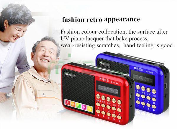 Wholesale-new arrival newsmy L56 radio , old man mini audio MP3, card box, portable mp3 music player, walkman free shipping