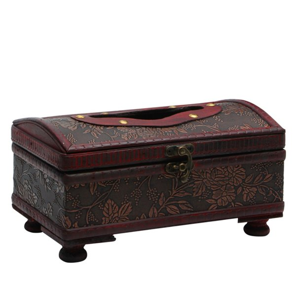 Wholesale- E74 Rectangular Retro Wooden Paper Cover Case Tissue Box Napkin Holder Home Decor