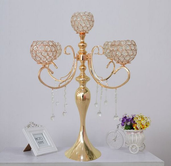"Gold 5-Arm H65cm 25.6"" tall crystal candelabra wedding table decor candlesticks decorative candle holder event party decoration"