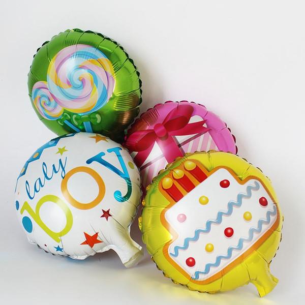 new design 50PCS/LOT happy birthday 10inch mini cake balloon baby boy/girl foil ballons for birthday party supplies air globos