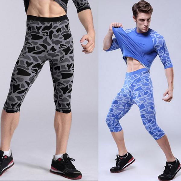 Wholesale- New Men Compression Base Layer Shorts Boxer Tights Sport Gear Yoga Skin Shorts M L