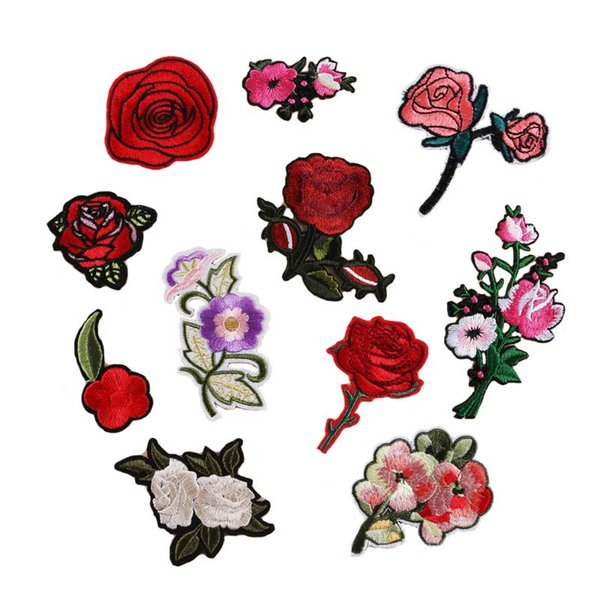 best selling 11 DESIGNS Flower Rose Embroidery Patches Clothing Pastes Flowers Stickers Small Rose Wallet Bag Patches free shipping