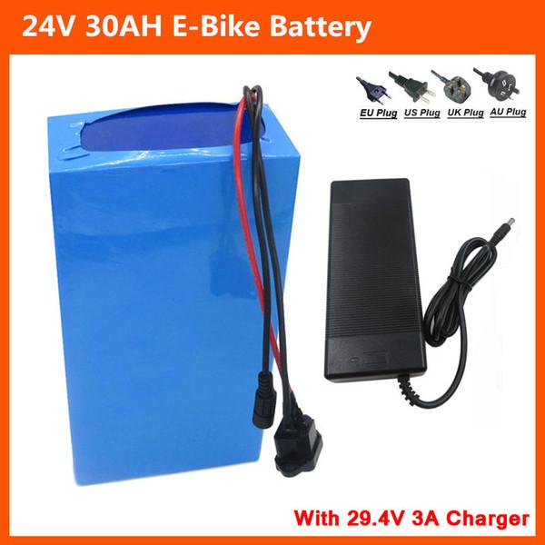 Batteria agli ioni di litio 24V 30AH Batteria 24V 7S 500W per bici elettriche Batteria 24V Ebike a batteria 18650 con caricabatterie BMS 29.4V 3A