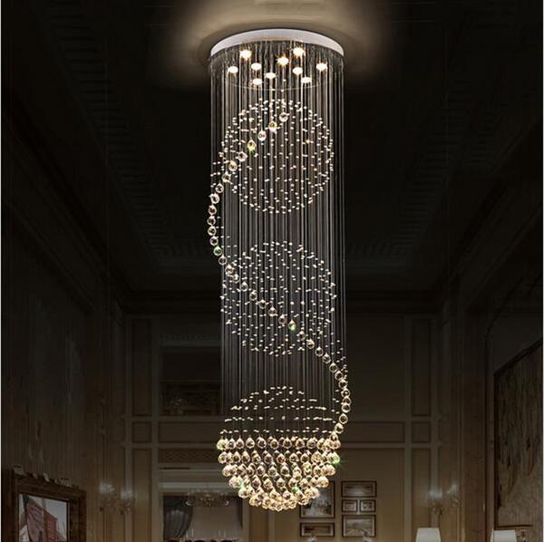 LED-Kronleuchter aus Kristall K9 beleuchtet Treppenleuchten mit hängender Lampe für Innenbeleuchtung mit D70CM H200CM-Kronleuchtern