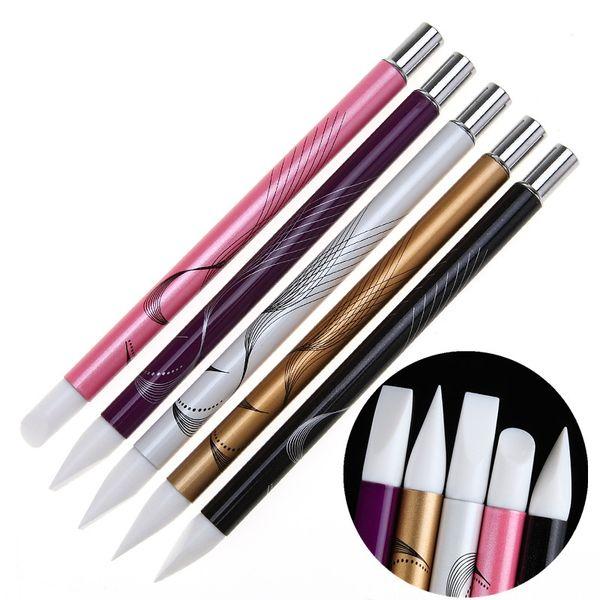 Wholesale- 5Pcs Soft Silicone Nail Art design stamp Pen Brush Kit Carving Craft Pottery Sculpture UV Gel Building brushes Set DIY Tools