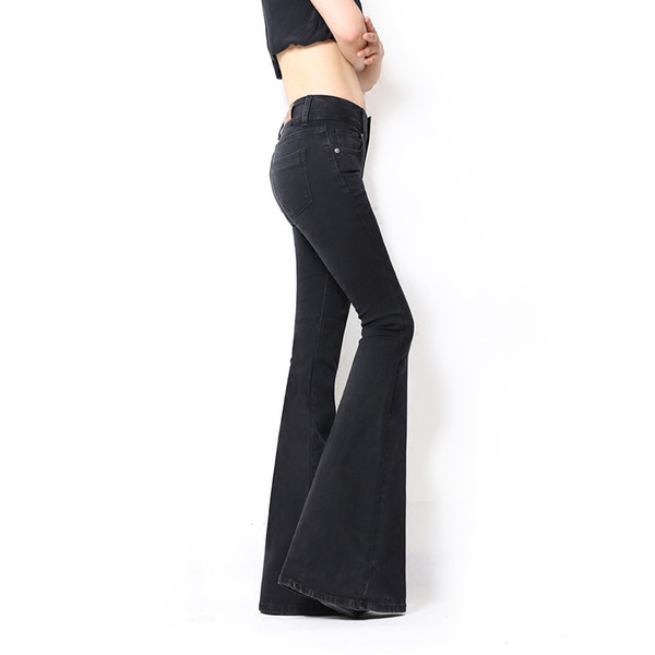 Wholesale- Free Shipping 2017 Spring New Italy High Waist Black Lengthened Large Fish Tail Micro Flare Pants Slim Women Jeans Fashion