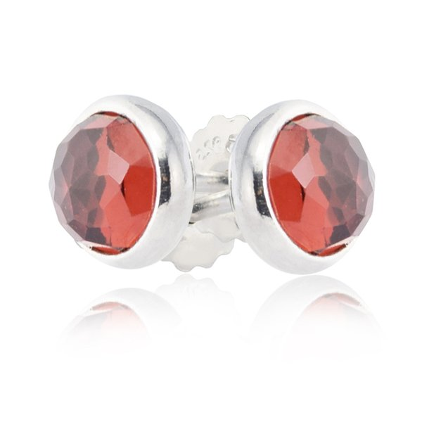 925 Sterling Silver Earring for Women Fashion Jewelry Authentic European 2017 Valentine's Day January Droplets Garnet Drop Earrings