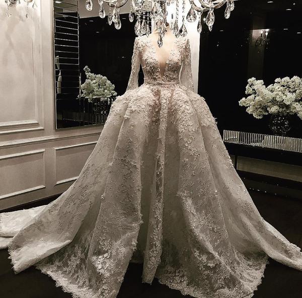 Zuhair luxo Murad Beads vestidos de casamento de manga longa 3D-Floral apliques de renda vestidos de noiva mergulho decote vestido de baile vestido de casamento