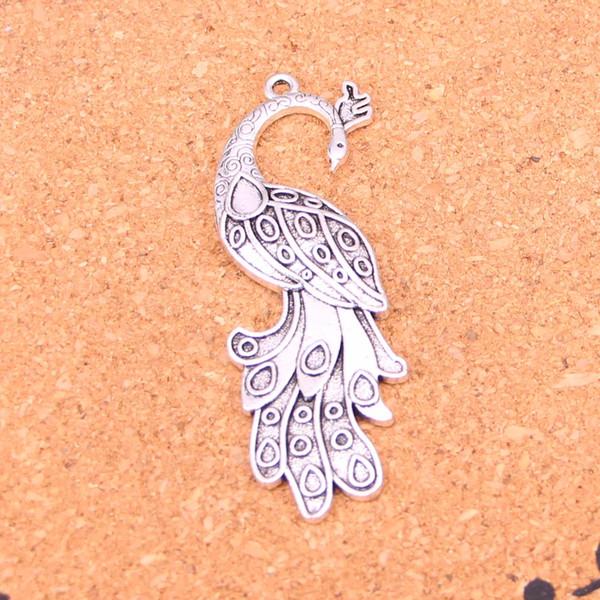 30pcs antique breloques paon pendentif fit bracelets collier bricolage bijoux en métal faisant 61 * 21mm