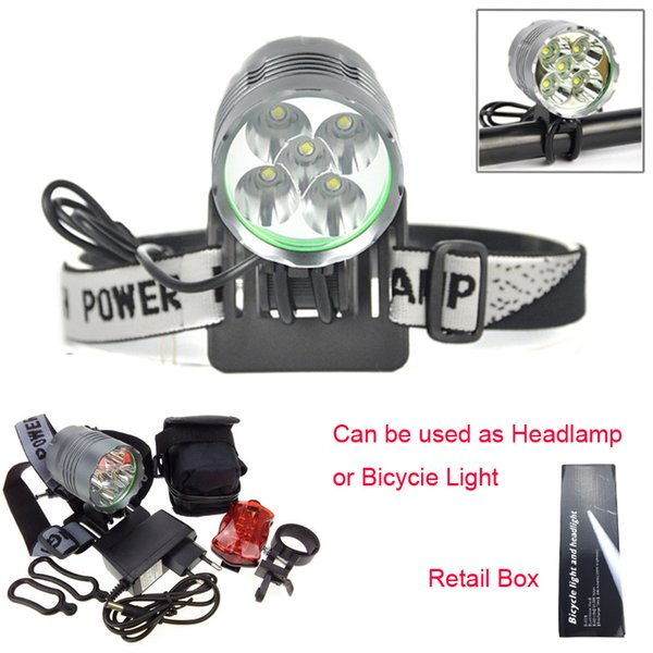 Hot 8000 Lumen 5T6 Cycling Headlight LED Bike Bicycle Light Headlamps Aluminum alloy Waterproof + Rear Light + Charger