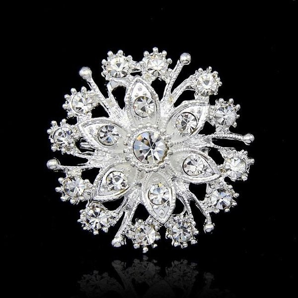 Luxury Silver Tone Flower Brooch Crystal Wedding Party Jewelry Brooches Pins Costume Accessories Rhinestone CZ Diamond Corsage Breastpin