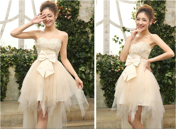 Hot Sale Evening Dresses Short Front Long Back Wedding Party Gown Brand New Bride Ball Prom Homecoming Graduation Formal Dress
