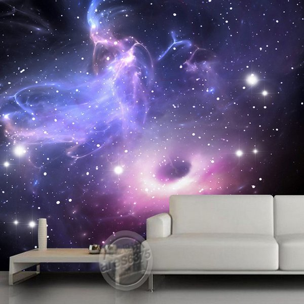Großhandel Purple Galaxy Wallpaper Custom 3D Wallpaper Der Sternenhimmel  Wandbild Kinder Schlafzimmer Wohnzimmer Hotel Space Interior Dekoration ...