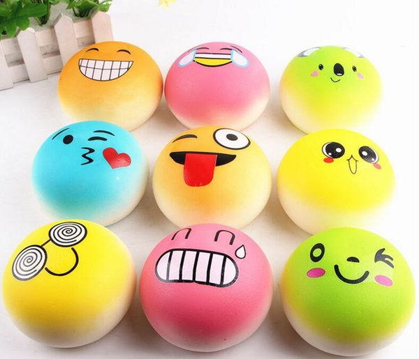 Free DHL 100pcs Large 10cm Cute Expression Smiling Face Squishy Bread Food Charm Cell Phone Straps Fashion Squishies Pendant Chirstmas Gift