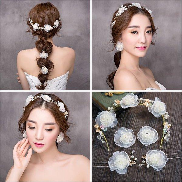 Woman headdress hair Lomen bride Korean aesthetic fresh flower Tiara Band Set Wedding styling accessories 6210733